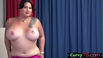 Thicc tgirl covers herself with hot jizz