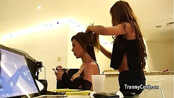 Hot tattooed tgirl behind the scenes