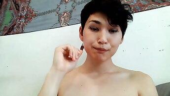 Sissy half-korean Sarah SeaSol pets and cringes